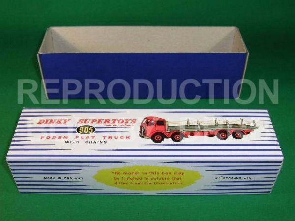 Dinky #905 Foden (2nd cab) Flat Truck with Chains - Reproduction Box